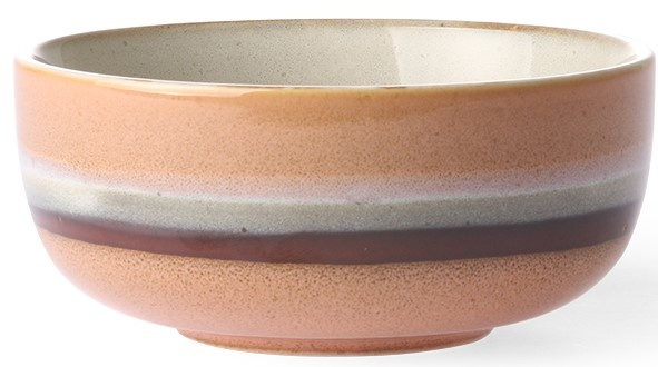 Kom ceramic 70's tornado 11x5cm Peach Brown-1