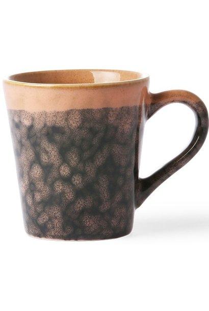 Mok ceramic 70's espresso lava 6x8cm Black