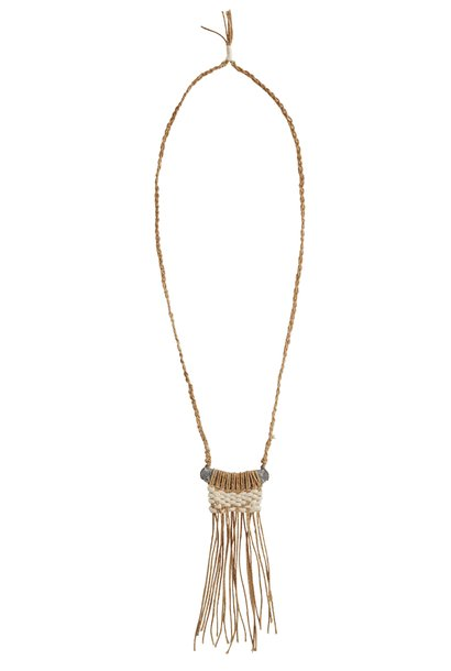 Ketting with fringles 44cm Natural