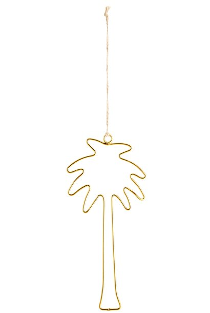 Wanddecoratie palm 11x23cm Gold
