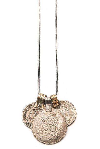 Ketting Tripple coin 65cm Silver