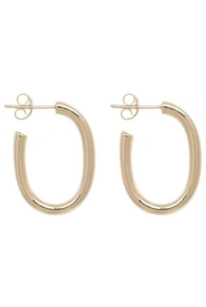Oorbellen PER PAAR Thick Oval Hoop Earrings 25mm Gold Plated