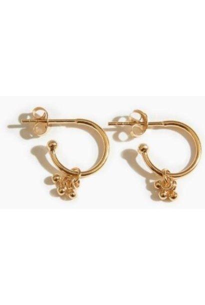 Oorbellen PER PAAR Cluster Open Hoop Earrings Gold Plated