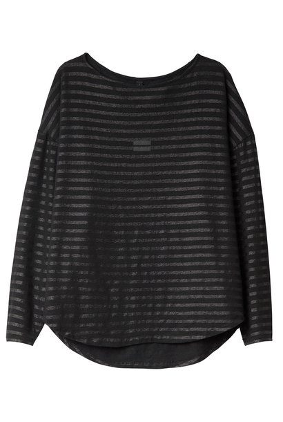 Top tee tonal stripes Black