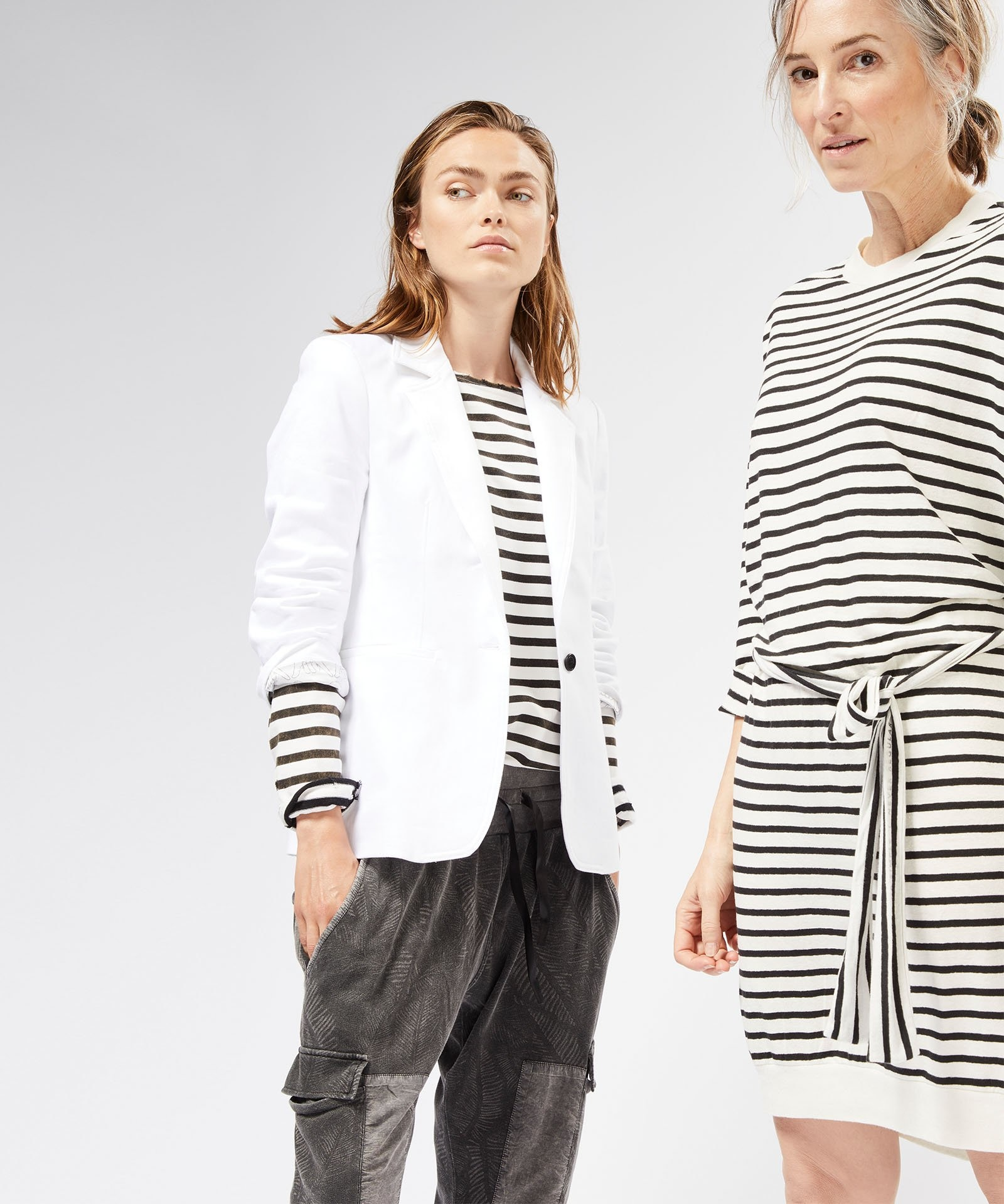Jurk belted stripes Ecru Black-2