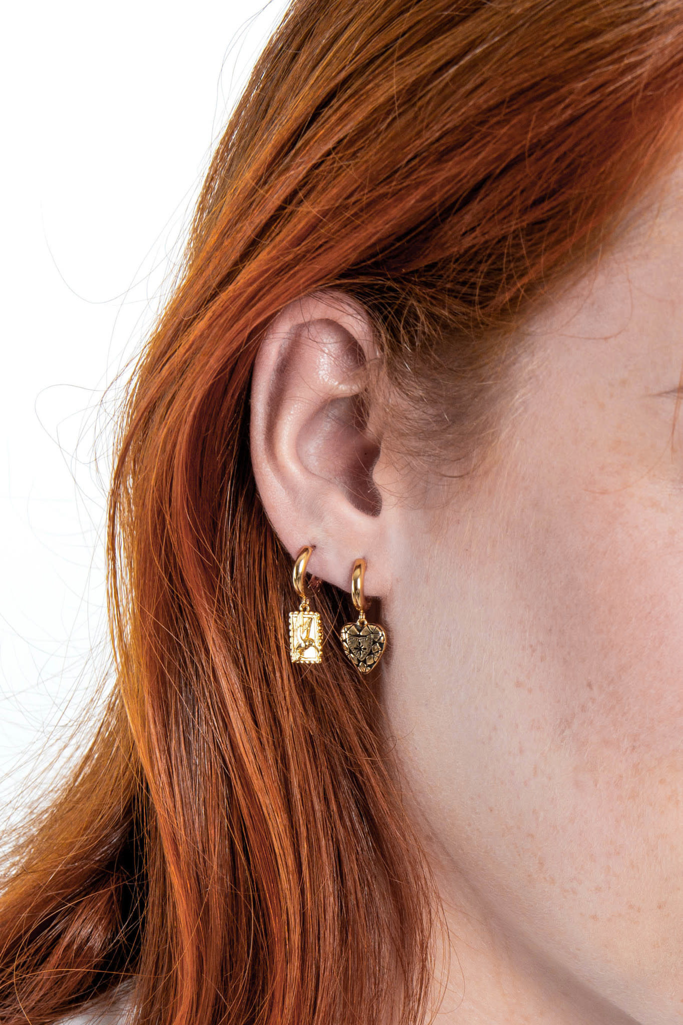 Oorring PER STUK Charm Hummingbird Rectangle Gold-3