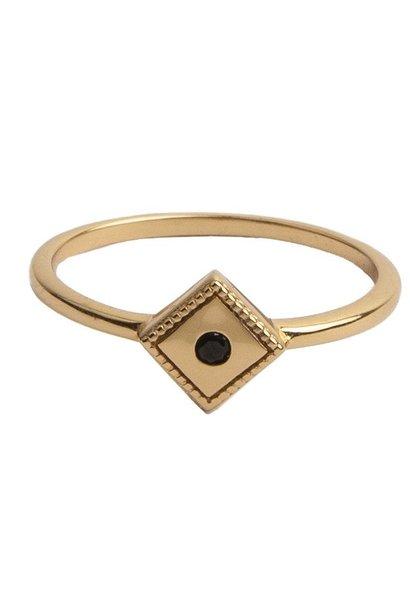 Ring Magique Square Black Gold