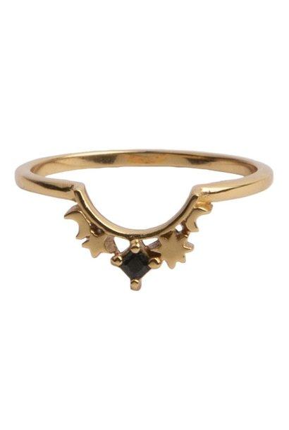 Ring Magique Crown Star Black Gold