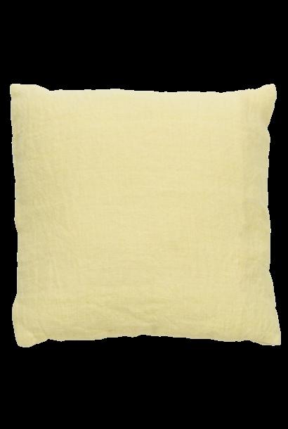 Kussen washed jute 45x45cm Citron