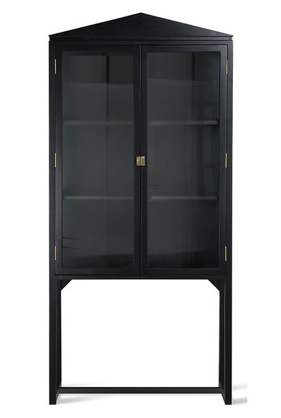 Kast rested showcase black wood 80x36x160cm Black showroom