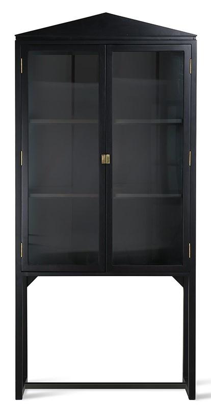 Kast rested showcase black wood 80x36x160cm Black showroom-1