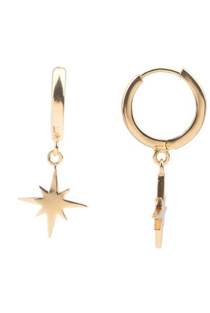 Oorring PER STUK Souvenir Star burst Gold