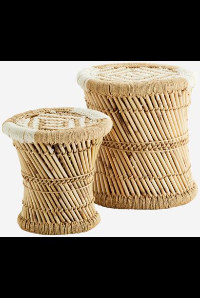 Kruk set of 2 Bamboo 30x30/38x38cm Natural