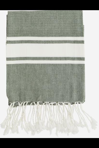 Handdoek Striped cotton 100x180cm Olive White