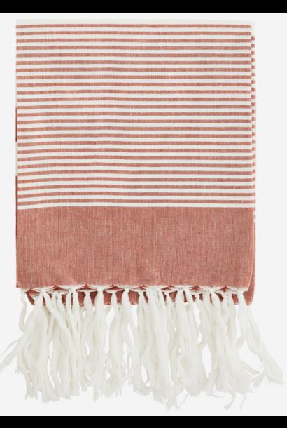 Handdoek Striped cotton 100x180cm Rust White