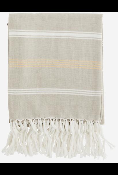 Handdoek Striped cotton 100x180cm Beige Off White