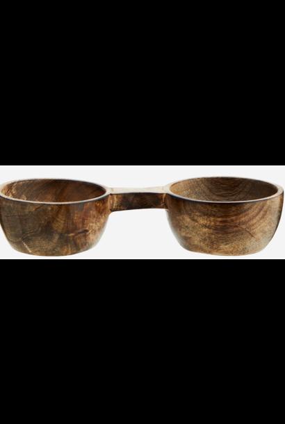 Schaal Wooden salt and peber 17x7,5x4cm Burnt Natural