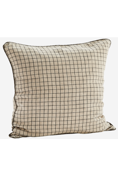 Kussenhoes Checked linen 50x50cm Taupe