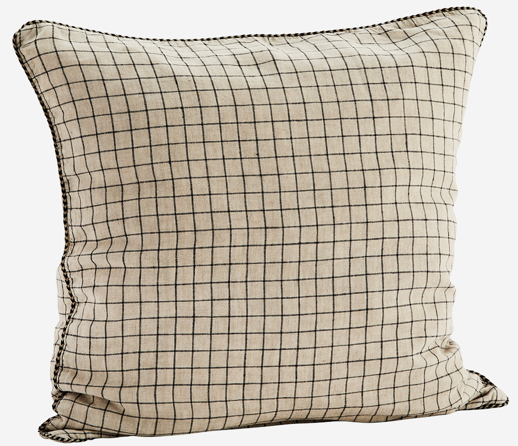 Kussenhoes Checked linen 50x50cm Taupe-1
