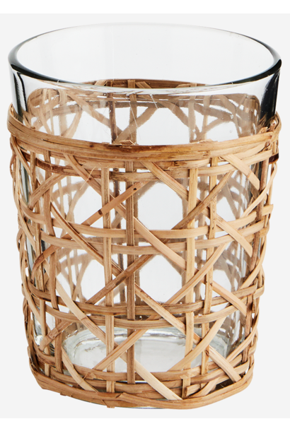 Drinkglas w/ bamboo cane 9x12cm Natural