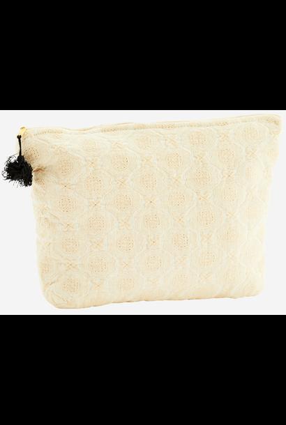 Toilettas Embroidered linen tassel 30x8x20cm Ecru