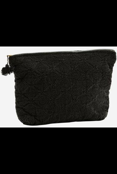 Toilettas Embroidered linen tassel 30x8x20cm Black