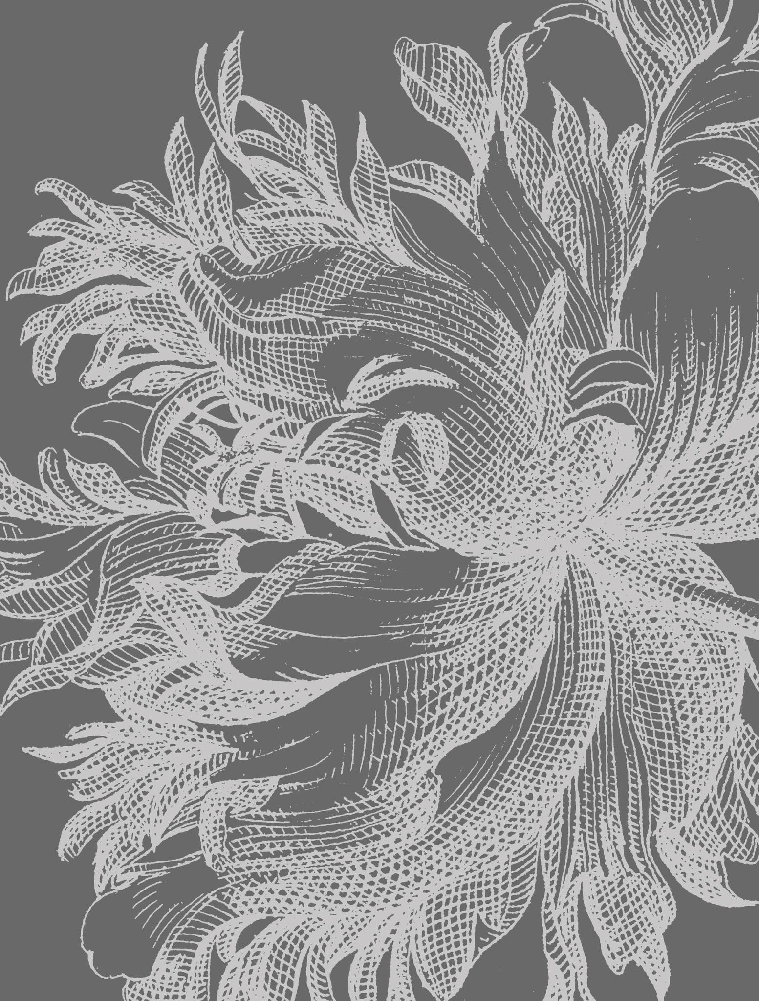 Fotobehang Engraved Flowers 194.8x280cm-3
