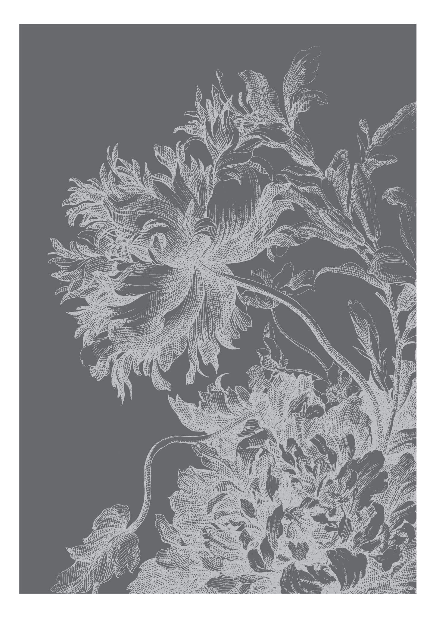 Fotobehang Engraved Flowers 194.8x280cm-1