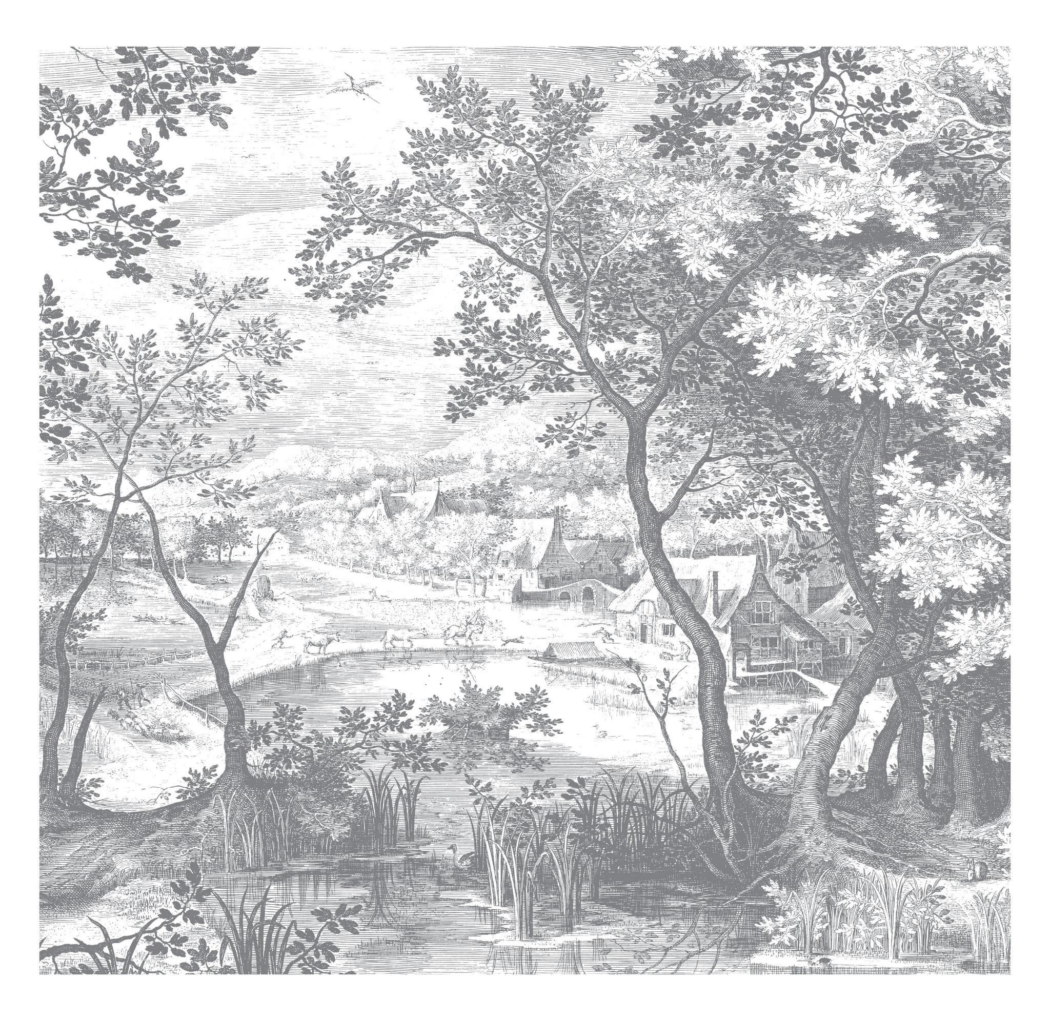 Fotobehang Engraved Landscapes 292.2x280cm-3