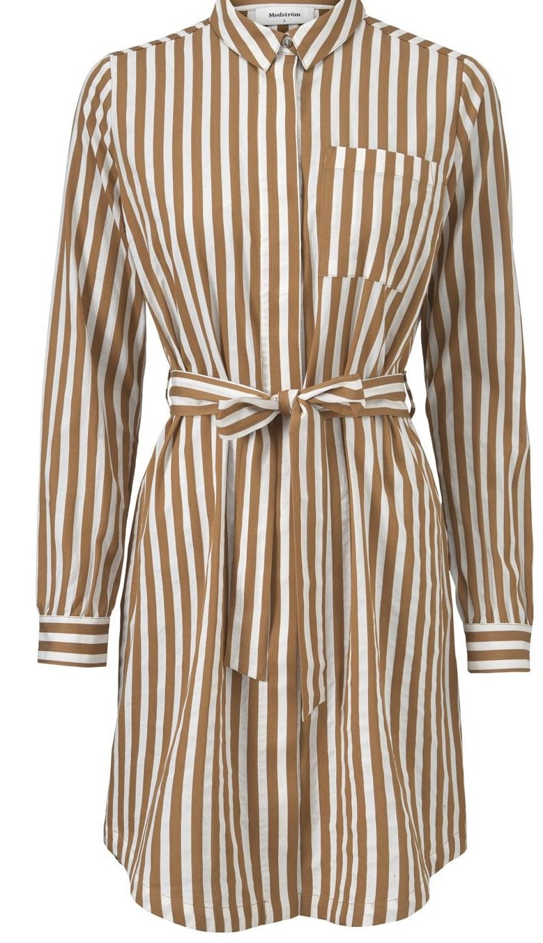 Jurk Barbette Warm Camel stripe-1