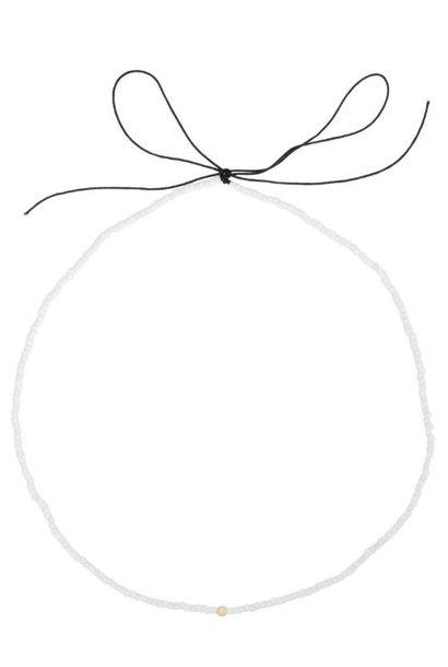 Ketting Mini White Bead String Goud
