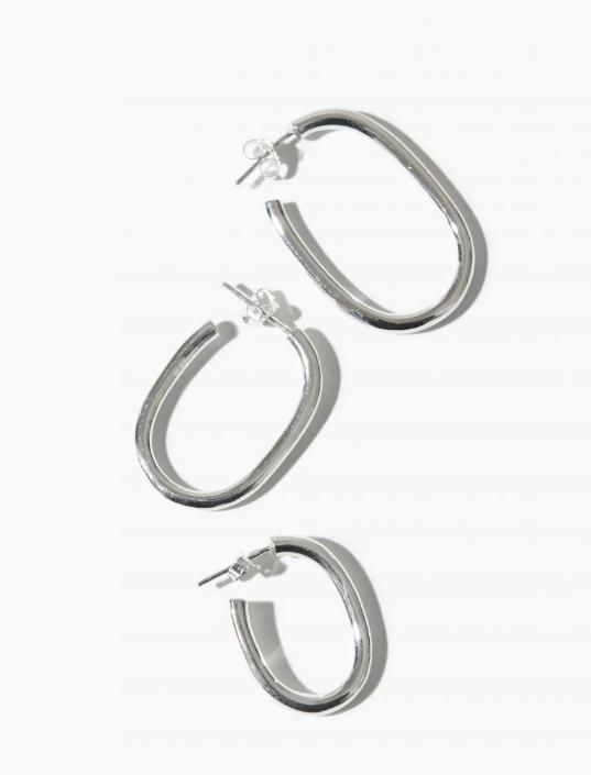 Oorbellen PER PAAR Thick Oval Hoop 35mm Sterling Silver-3