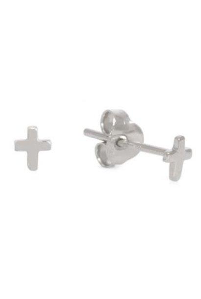 Oorbellen PER PAAR Cross 4mm Silver