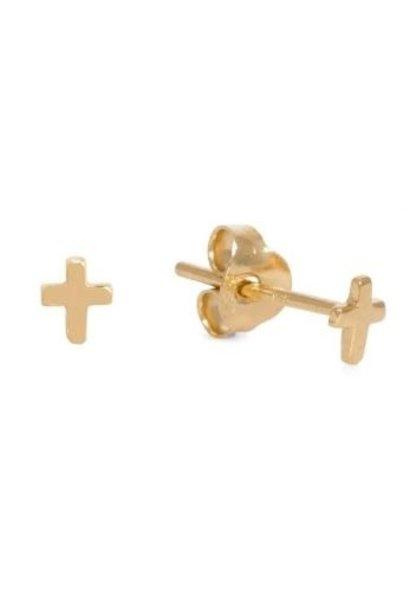 Oorbellen PER PAAR Cross 4mm Goud Verguld
