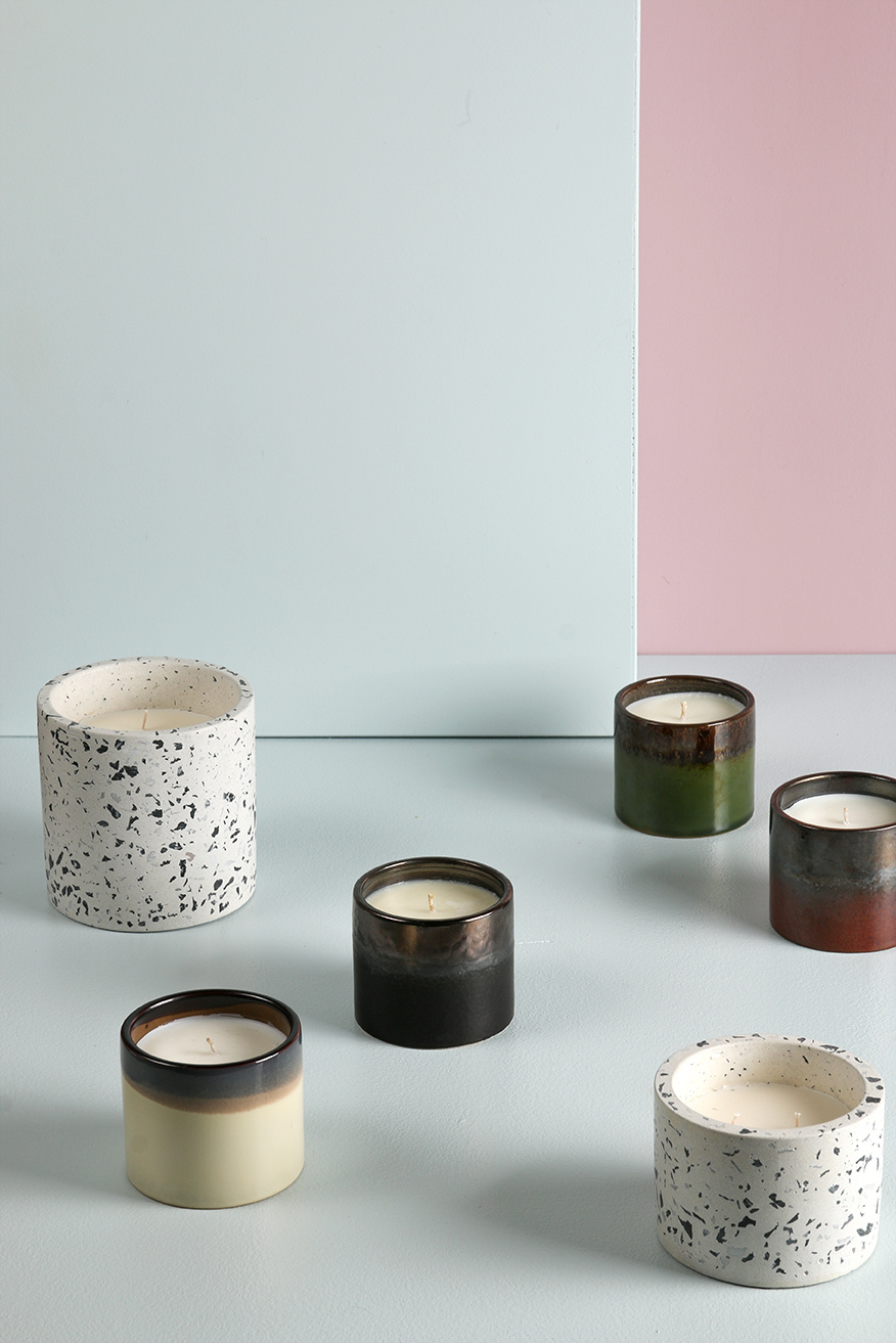 Kaars ceramic soy candle woody amber-3