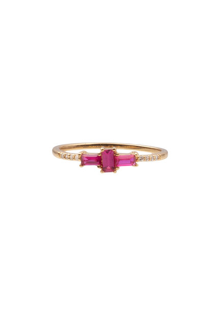 Ring chérie cross pink clear gold