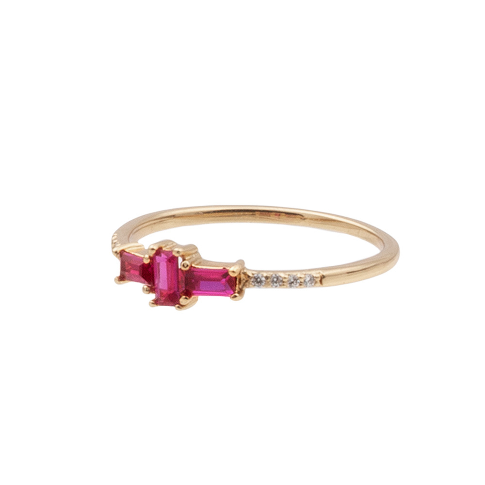 Ring chérie cross pink clear gold-3