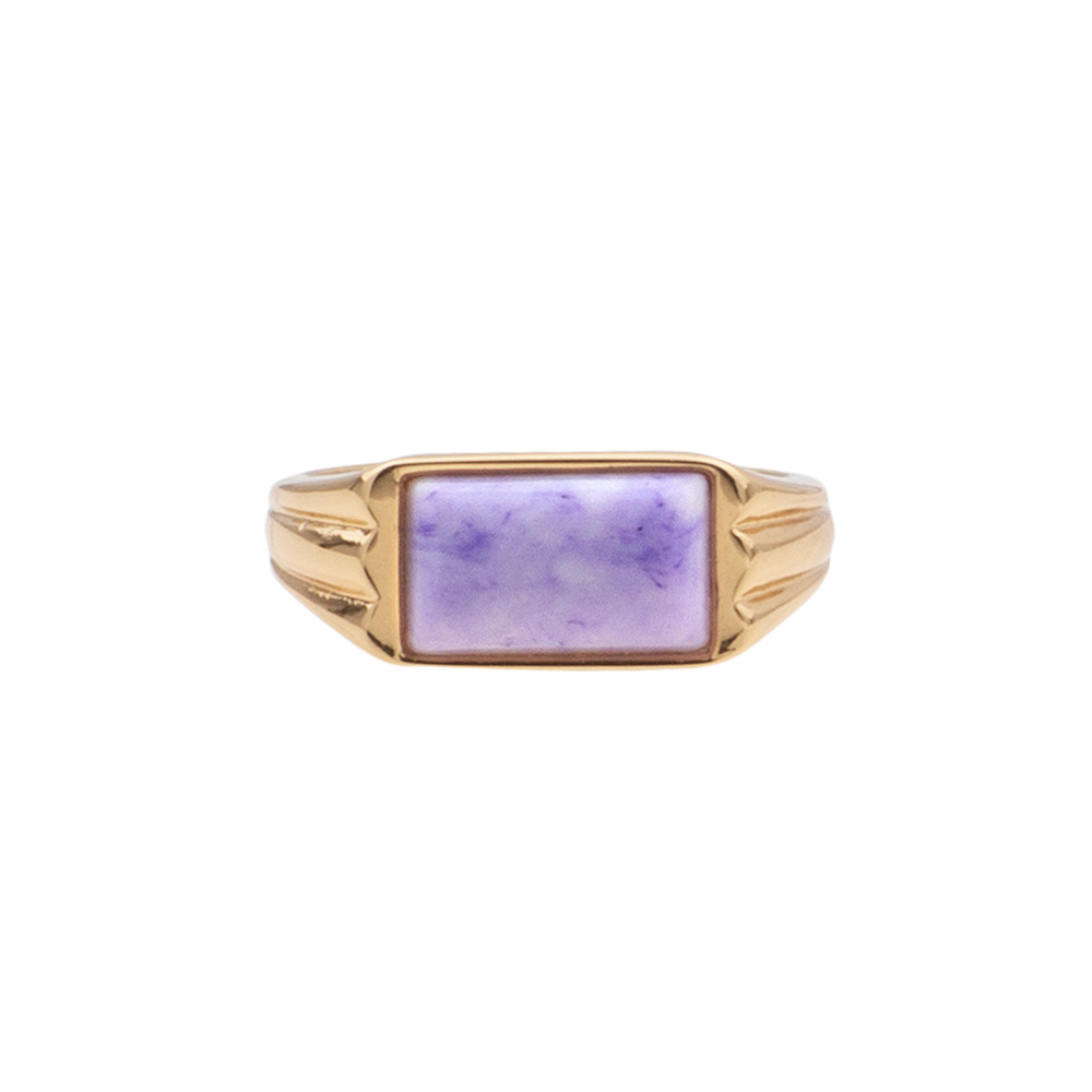 Ring rectangle marble lilac-1