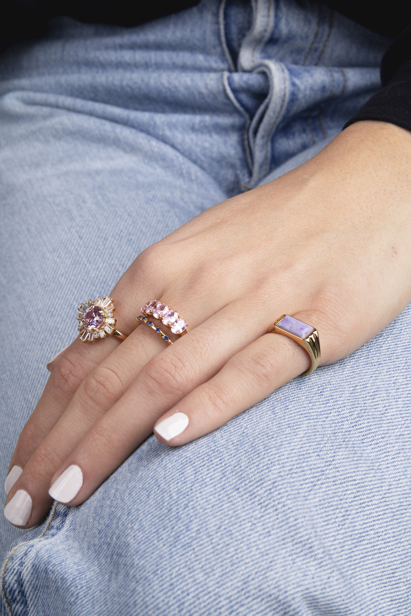 Ring rectangle marble lilac-2