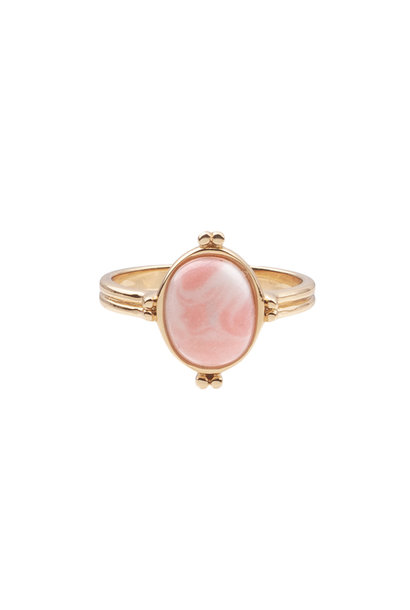 Ring oval marble light pink