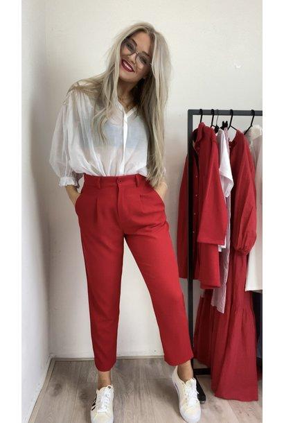 Broek Pantalone rosso small elastaan