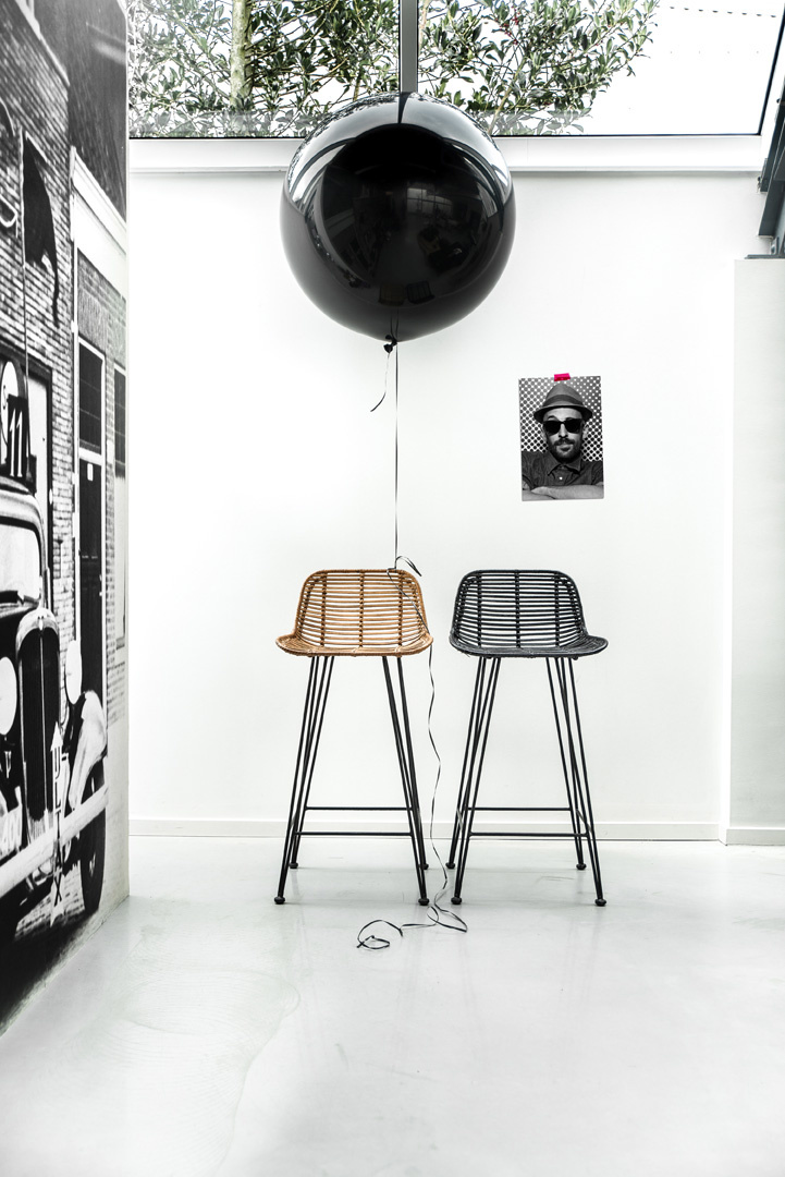 Barstoel rattan bar stool 42x47x89cm Natural-2