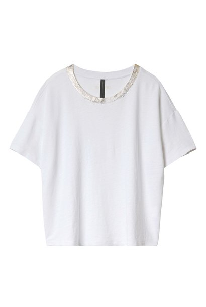 Top crop tee Gold White
