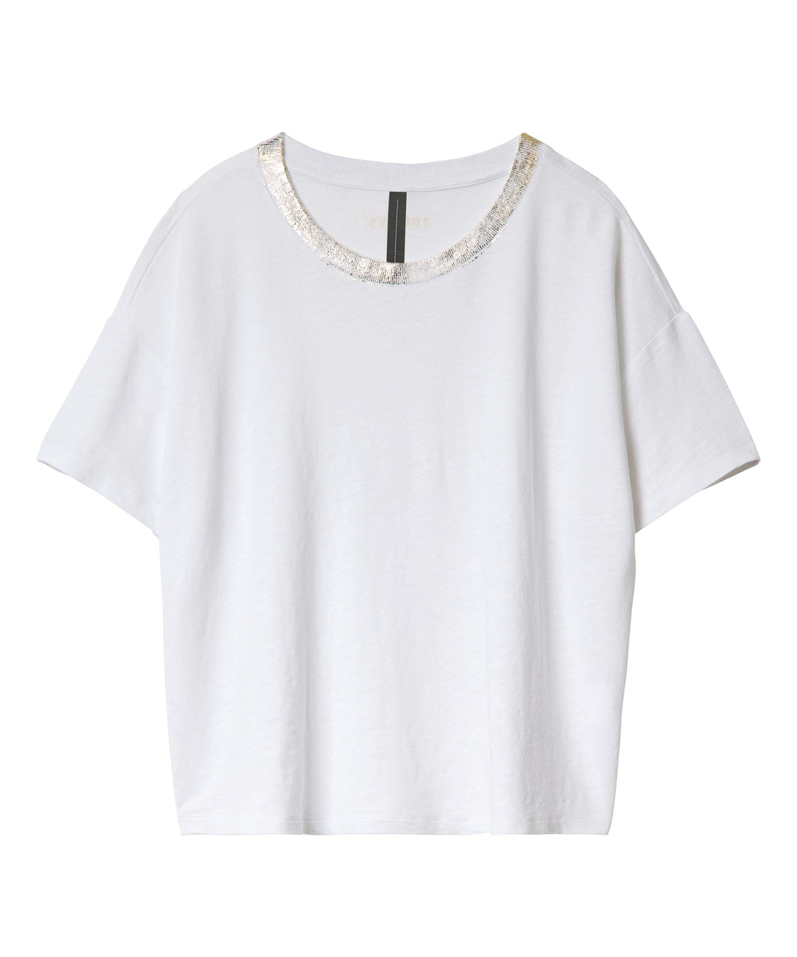 Top crop tee Gold White-1