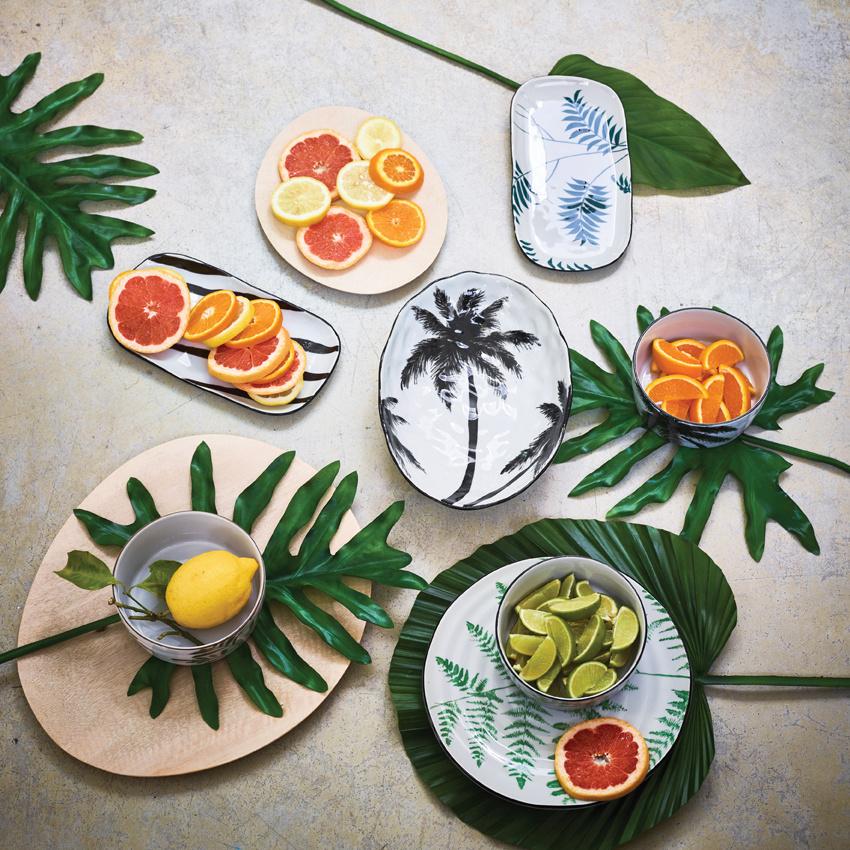 Schaal bold&basic ceramics: porcelain serving bowl palms-2