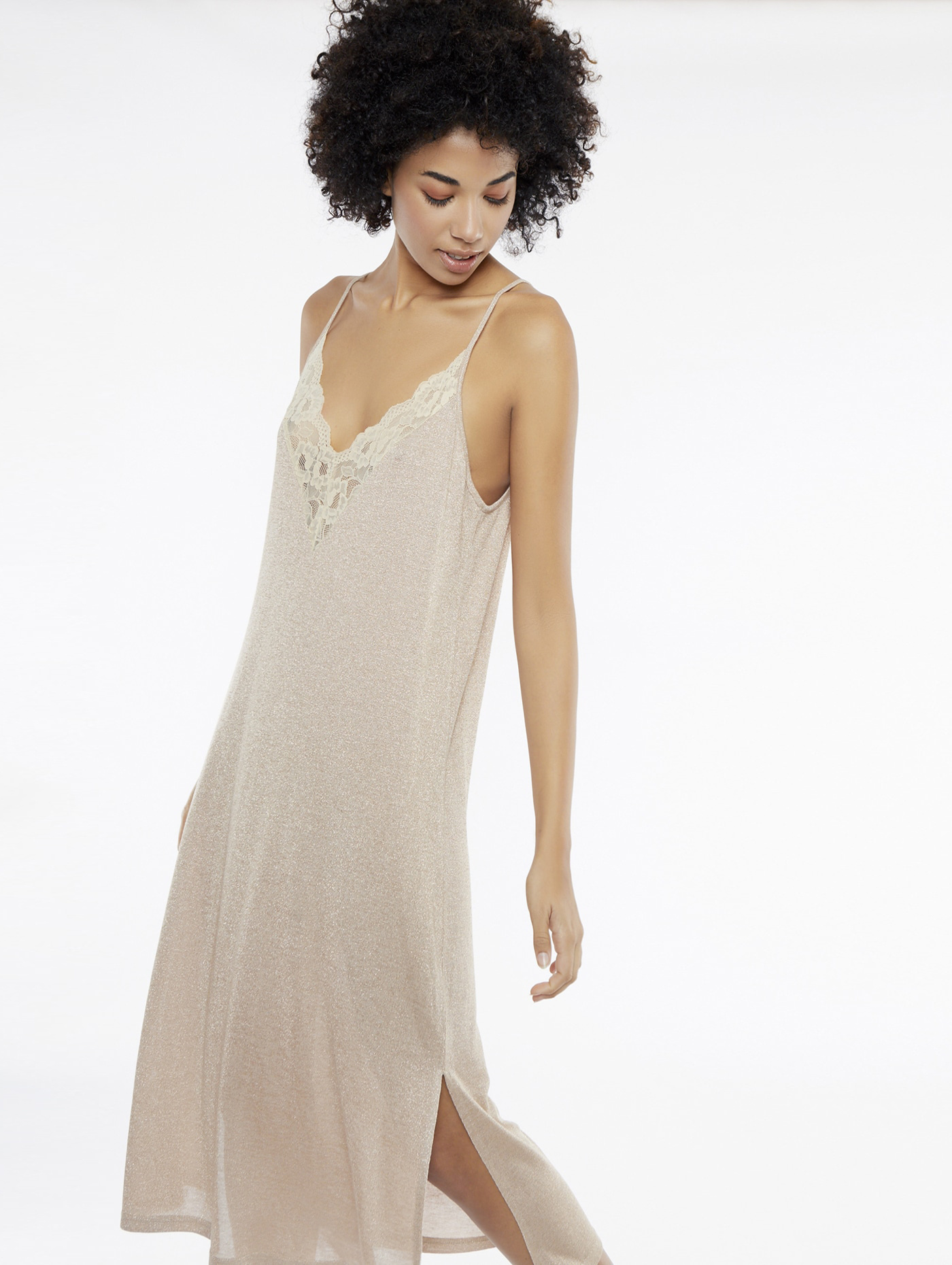 Jurk midi v-neck dress rose-1