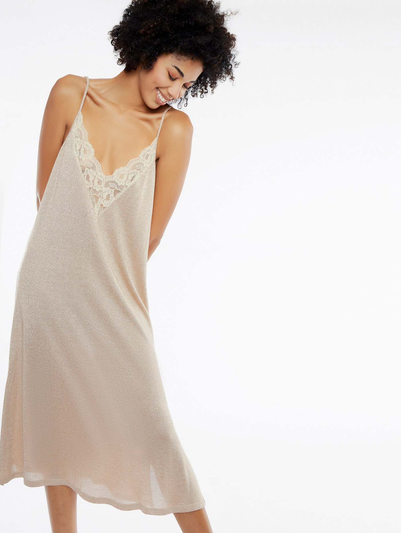Jurk midi v-neck dress rose-4