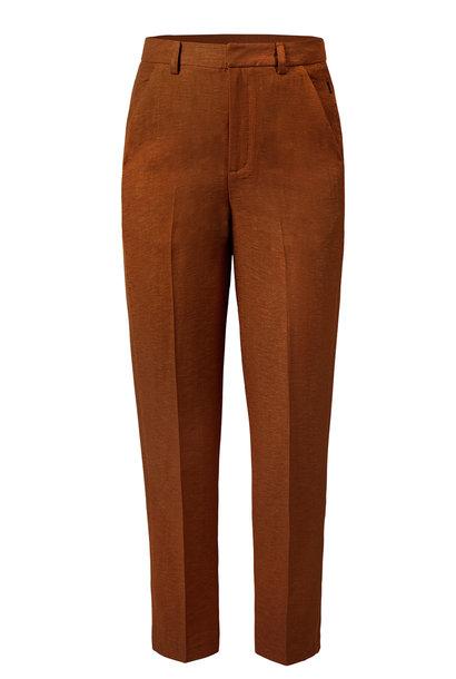 Broek Laurine tailored shiny linen cinnamon