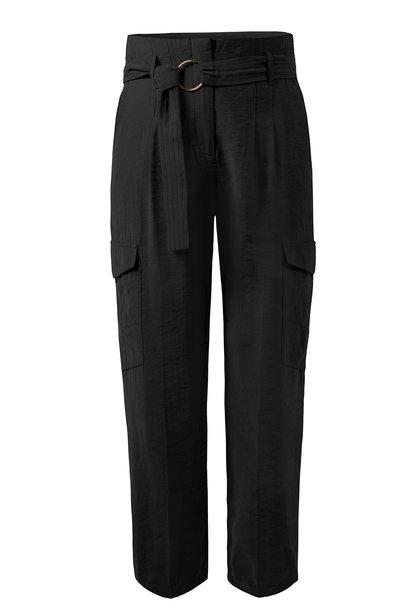 Broek Adelynn high waist belt charcoal