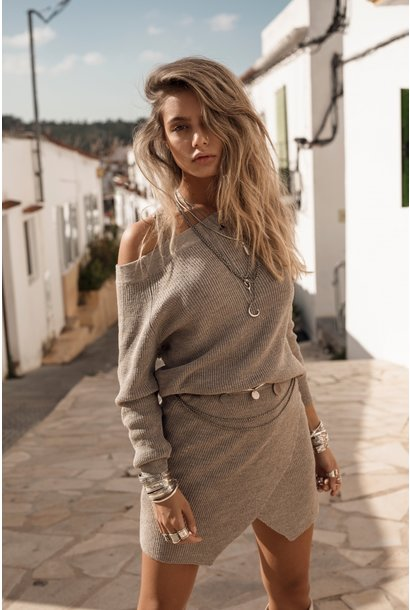 Trui Dayla Knitted Sweater Tender Taupe
